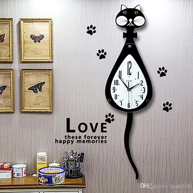 3D Cat Relojes de pared Tail Shaker Shape Key Hang Timepiece Clock For Living Room Single Surface HH7-480