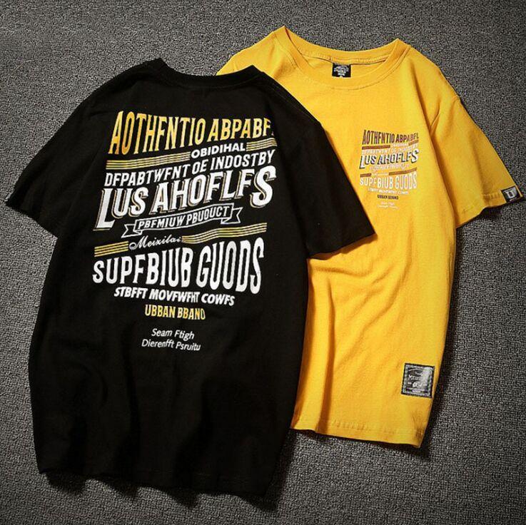46cba13c99fc51 NEW Harajuku T Shirt Men Women Summer Hip Hop T Shirts Letter Print Couple  Streetwear Tshirts Short Sleeve Casual Top Cotton Yellow Black T Shirt Shop  ...