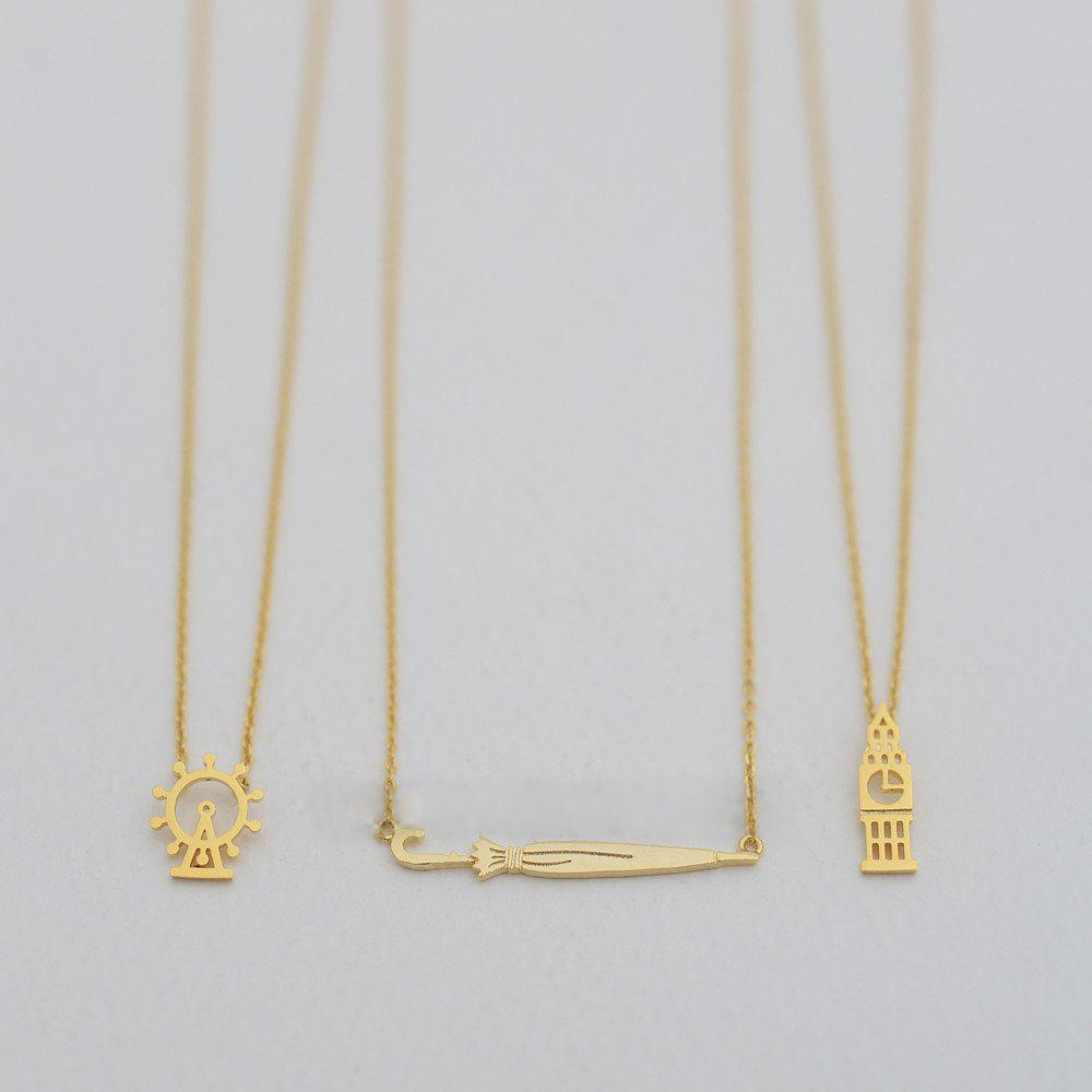 Fashion umbrella necklaces Personality of long handle umbrella pendant necklaces Rose Gold-color plated necklaces for women