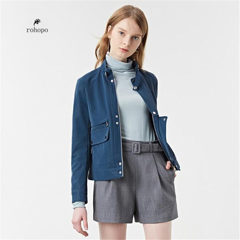 7f742f0074f Купить Оптом Небесно Голубой Женщин Благородный Тонкий Замша Кожаная Куртка  Женская