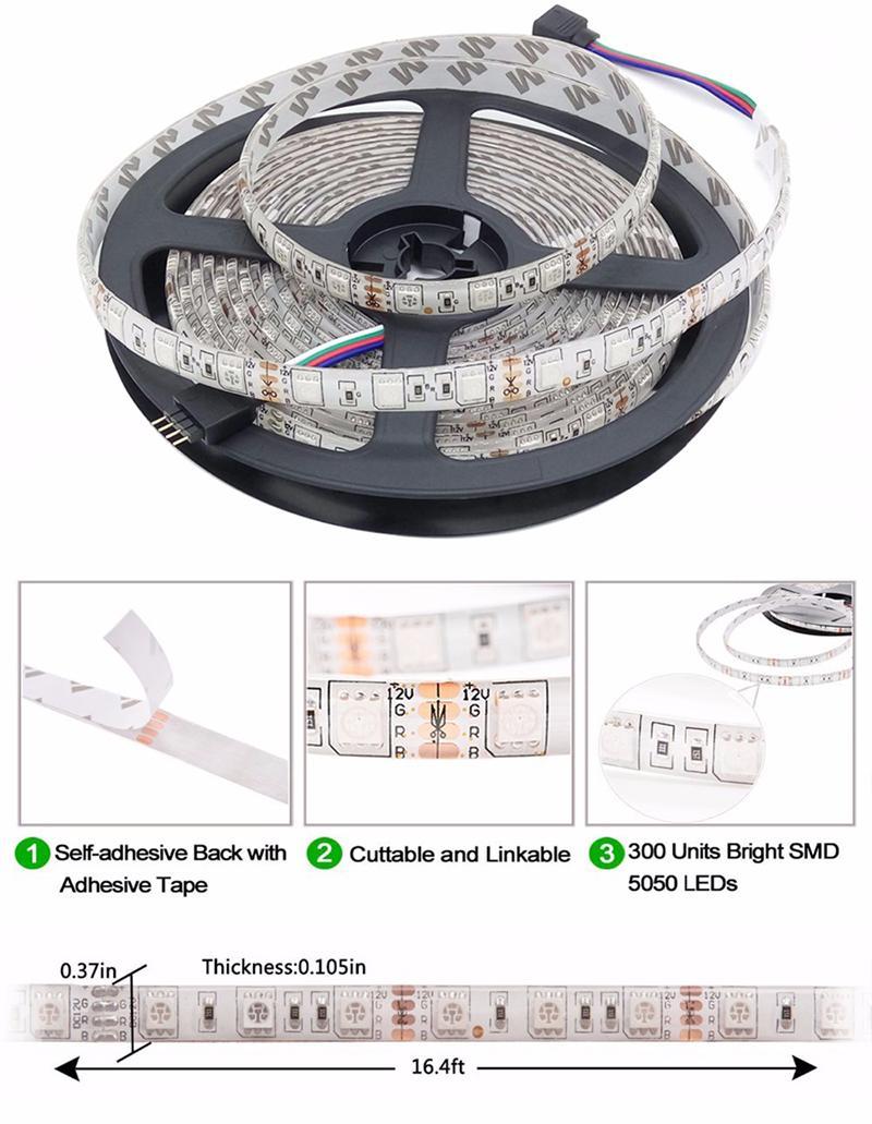 5M SMD5050 RGB Led Strip 300led/m DC12V Waterproof 300leds + 44key RGB LED controller +12V 5A 60W Power adapter