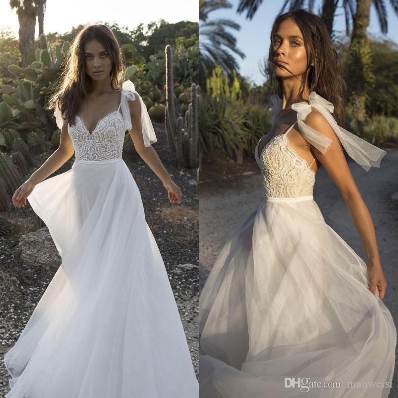 Discount 2018 Berta Boho Beach Wedding Dresses Spaghetti Sweetheart Lace  Appliqued Beaded Pearls Bridal Gowns Bohemian Cheap Wedding Dress Couture  Wedding ... ef12b48679e4