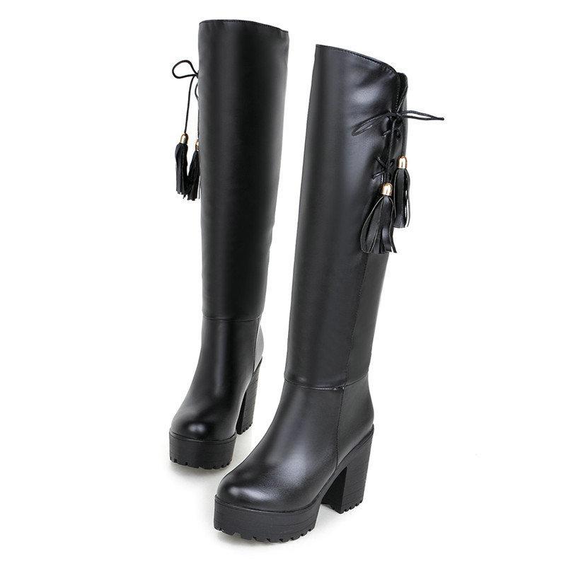 60af1ec0431 Compre Tamaño 34 43 Botas Altas Hasta La Rodilla Con Cordones De Cuero Mate Para  Mujer Fringe Plus Size Shoes Lady Comfort Boot Mujer Zapatos De Tacón Alto  ...