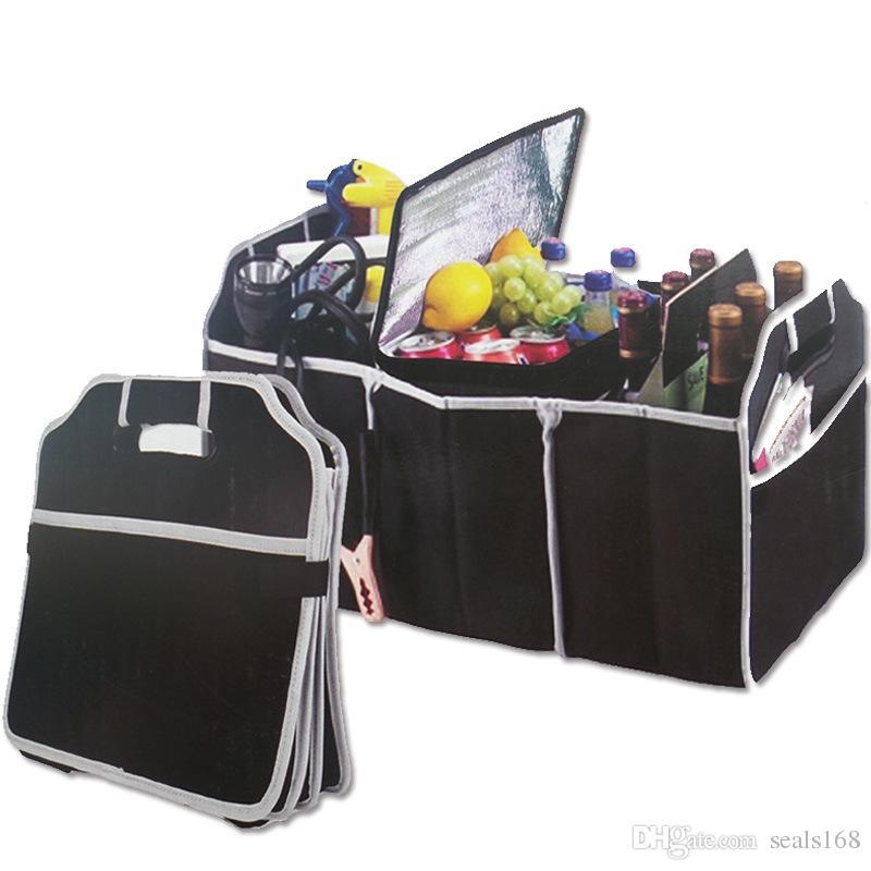 Dobrável Car Storage Boxs Bins Tronco Organizador Brinquedos Recipiente De Armazenamento De Alimentos Sacos de Acessórios Auto Interior Caso Pode FBA Navio HH7-472