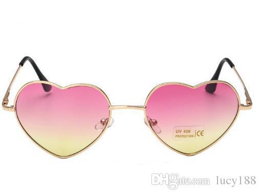 2017 edição han corações amor hot style metal óculos de sol da moda óculos de sol dos homens e das mulheres populares retro moda óculos atacado e