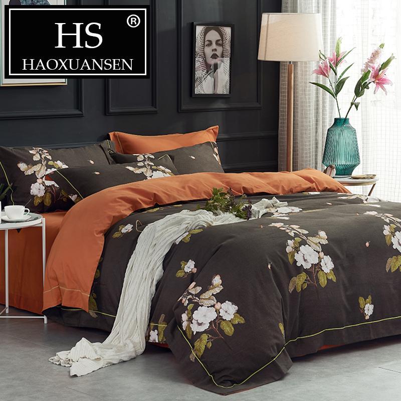 Großhandel Braun Bett Set Blume Tröster Bettwäsche Sets Bettlaken