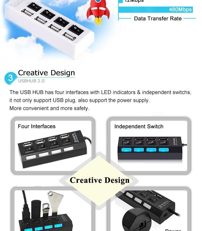 Mini 2.0 Hub 4 Ports Portabler High Speed USB 480 Mbit / s Ein- / Ausschalter USB Splitter Adapter HUB Für PC Laptop