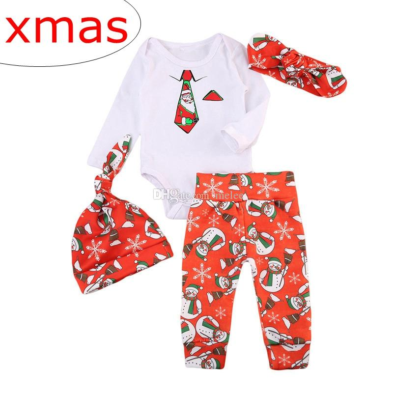 89fd2a682 2019 INS Xmas Infant Baby Christmas Outfits Tie Print Romper Long ...