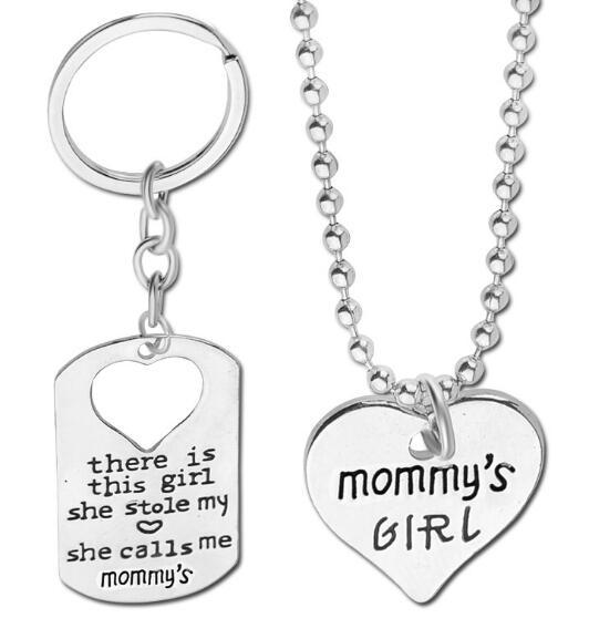 DHL Family Heart Letter Necklace There is This Girl She Stole My She Calls Me DADDY Daddy's Girl Heart Pendant Necklace Keychain Jewelry