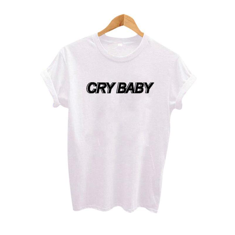 d3483183f Women's Tee Cry Baby T Shirt Women Black White Grey T Shirt Harajuku Tumblr  Fangirl Logo Tee Shirt Top S - 3xl Dropshipping