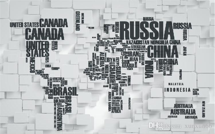 parede de tijolos retro 3D grande personalidade mural de três - dimensional carta wallpaper mapa do mundo sala fundo TV wallpaper