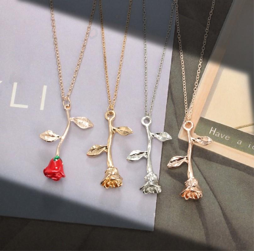 Wholesale 2019 New Rose Flower Necklace Gold Silver Rose God Red Alloy  Statement Choker Necklace Jewelry For Gift Chunky Necklaces Pendant Necklace  From ... 0fbc490465ed