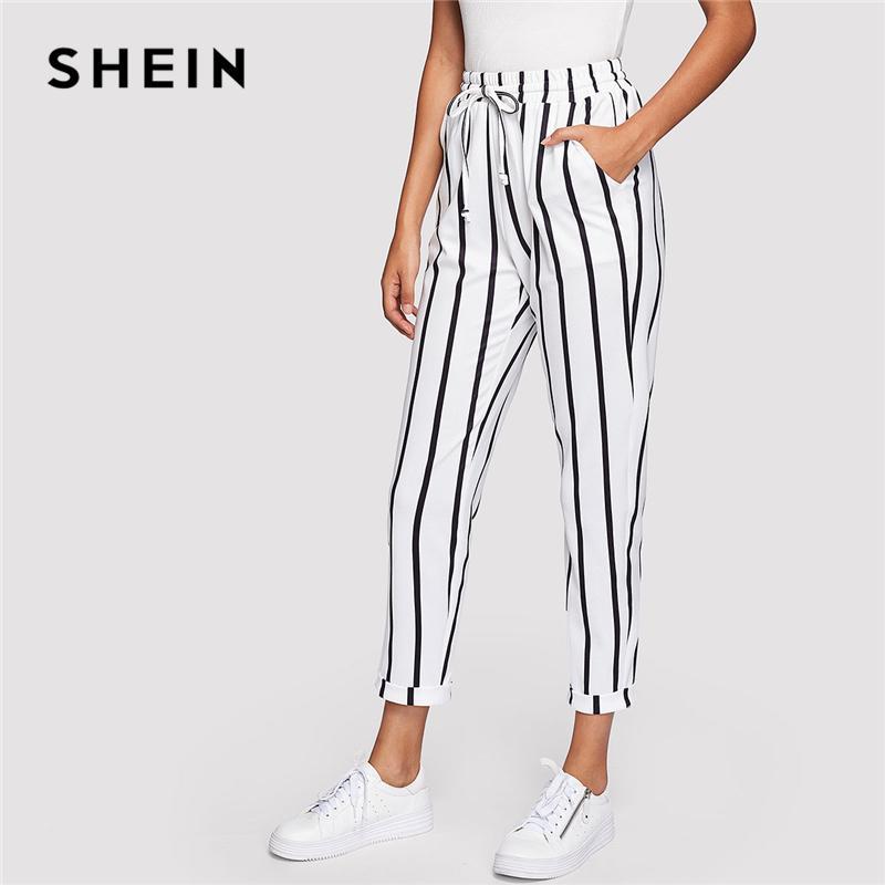 Compre SHEIN Blanco Y Negro Con Cordón Ocasional Cintura A Rayas De Cintura  Alta Pantalones De Zanahoria Cónicos Mujeres Del Verano Que Salen Pantalones  ... 0880c416e9d5