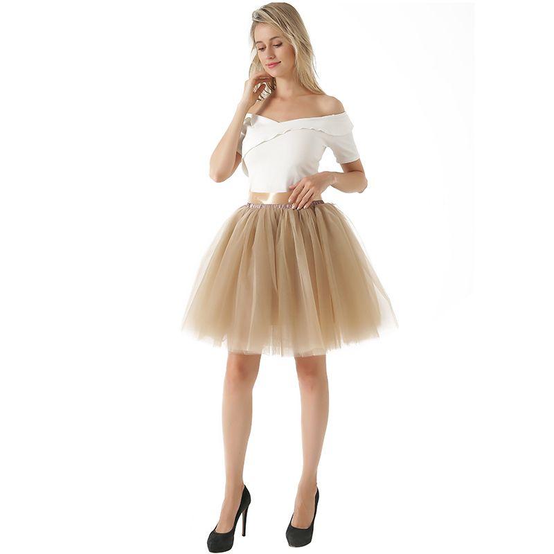 2d56a0f6c72 Compre 7 Capas Moda Tutu Tul Falda Hasta La Rodilla Faldas Plisadas Mujeres  Boda Falda Con Cinturón Lolita Enagua Saia Faldas Jupe A  29.28 Del  Illusory08 ...