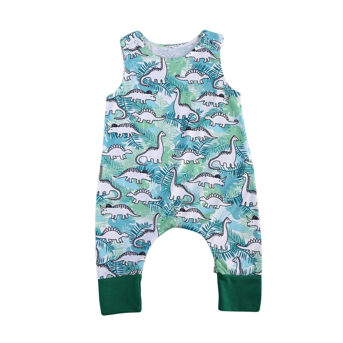 6341d0533efa 2019 Newborn Infant Baby Boys Dinosaur Romper Jumpsuit Sleeveless ...