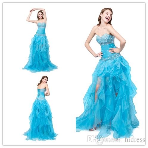 66f7dc10e17 2018 Prom Dress Ice Blue Young Sweet Crystal Beaded Party Dresses Draped  Tulle Dresses Strapless Crystal A Line Spaghetti Evening Dresses Evening  Dresses ...