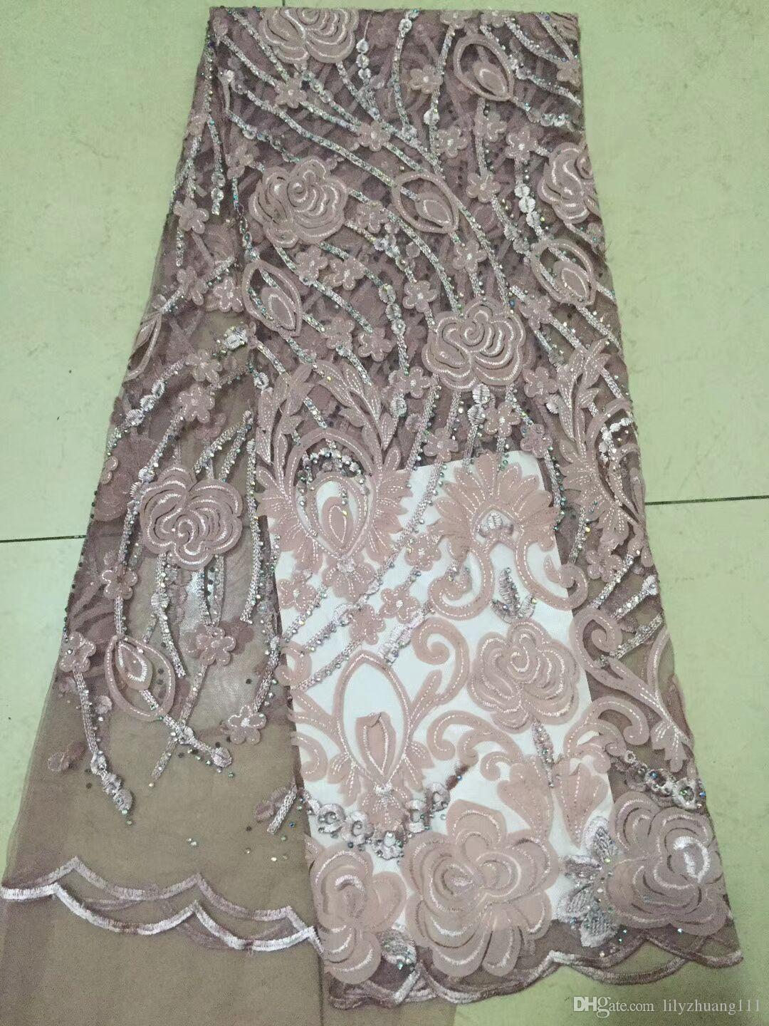 Latest Black High Quality African French Net Lace Fabrics Embroidered Hot drilling Nigerian Cotton Laces Fabric