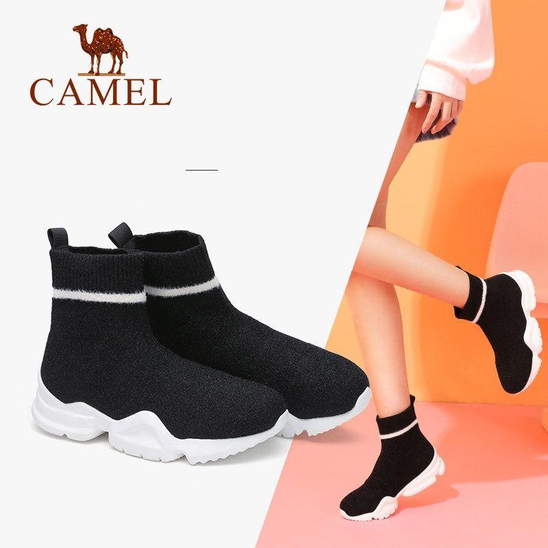 915cec1ae4e5 CAMEL Schuhe Frauen Winterstiefel Stretch Fabrics Socken Stiefel Lässig  Knöchel Plateauschuhe Weibliche Turnschuhe Beleg auf Mode Med Heel