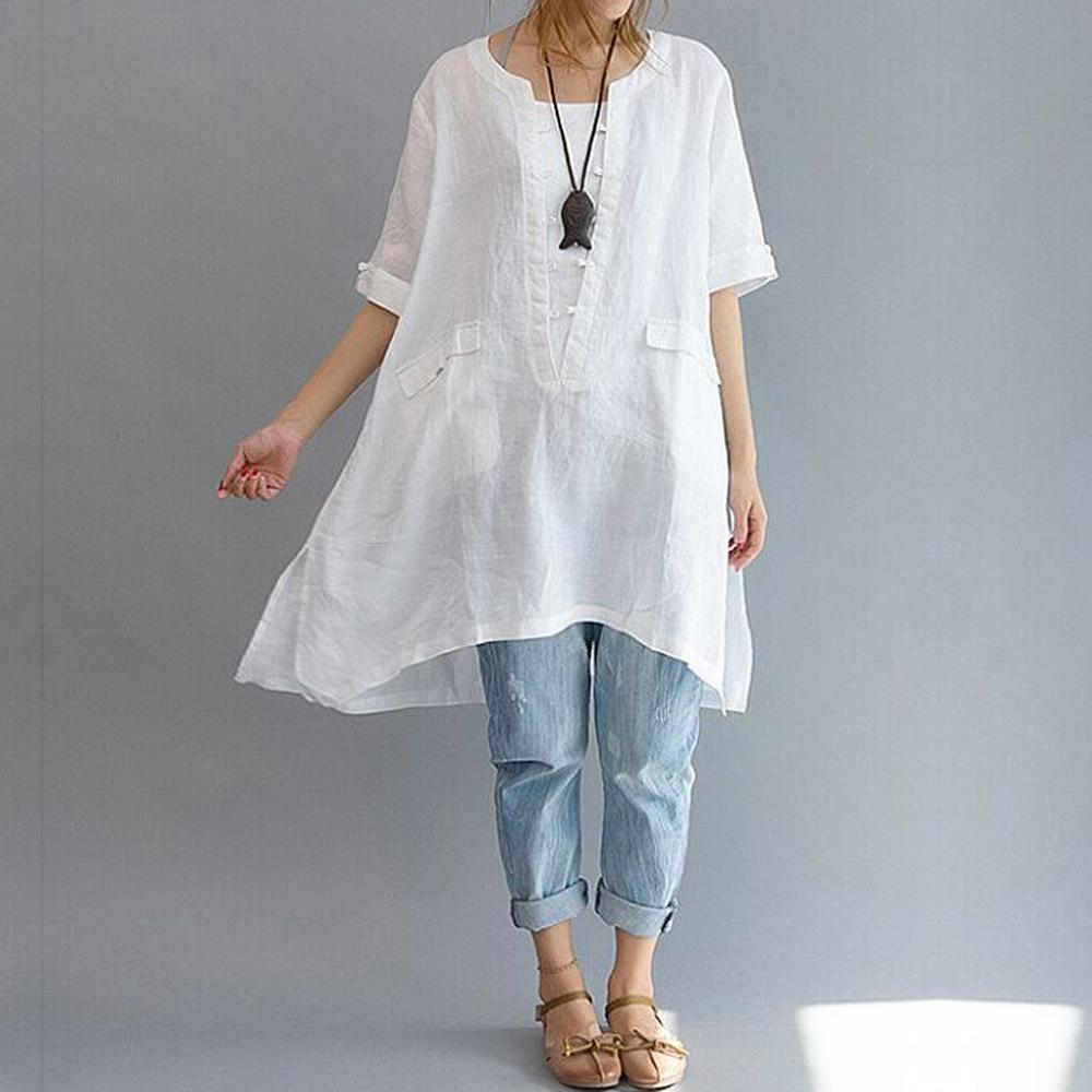 348de1806de 2019 2018 Long Women Blouse Cotton Linen Short Sleeve Asymmetric Loose  Oversized Women Shirt Pockets Tunic Tops Plus Size White L 6XL From  Edward03, ...