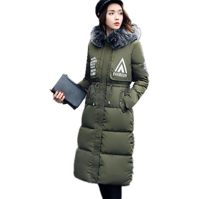 5ff61d458 Women Down Coats 2017 Oversize Fashion Winter Long Fur Collar Female Coat  Outerwear Thicken Parkas Plus Size Jackets Black Grey Wine Red Arm