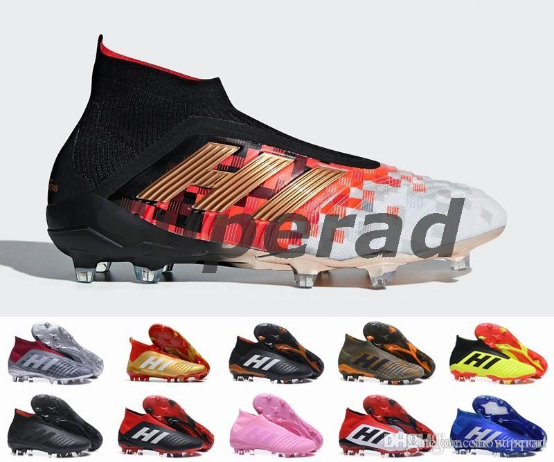 55c19996e kids soccer cleats Predator Telstar 18+ FG mens football boots Pogba soccer  shoes Crampons chaussures de 2018 world cup football cleats