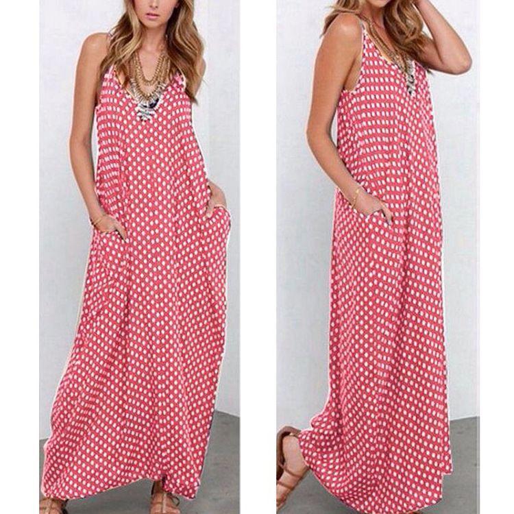 Summer Boho Sleeveless spaghetti strap women Maxi Dress loose white black dot elegant sexy V-neck casual beach dresses S-XXXXL