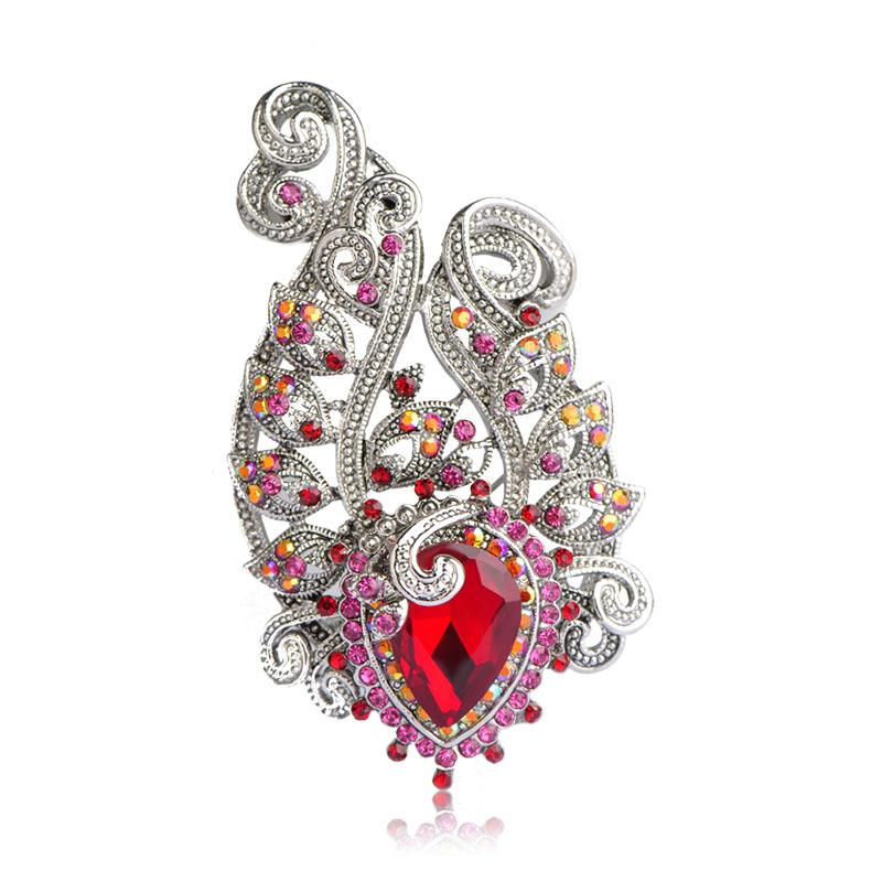 Blue Charming Flowers Vintage Brooches High Quality Red Crystals Antique Silver Color Women Dress Hairpins Accessories Pin