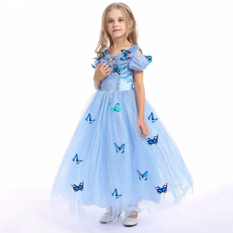 e47a07f50ed8c 2018 Snowflake Cinderella Dress Fancy Costumes for Kids Blue Gown Halloween  Baby Girl Butterfly Dress Party Wedding Dresses