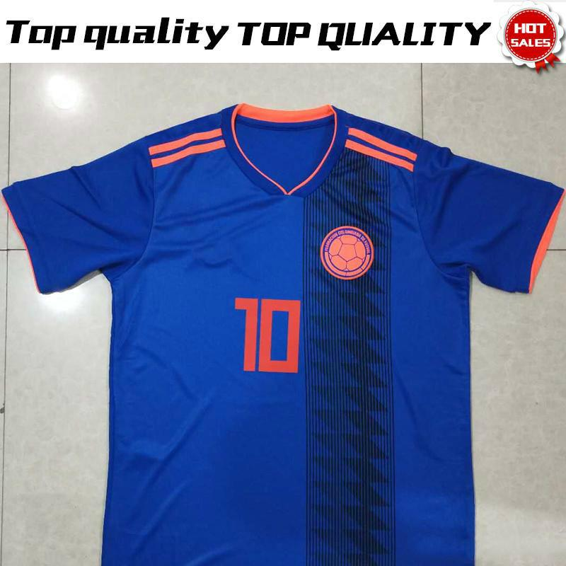 2018 World Cup Colombia Away Blue Soccer Jersey  10 JAMES National Team  Soccer Shirt 2018 World Cup FALCAO Away Blue Football Uniform Sales Canada  2019 From ... 65a54a90b