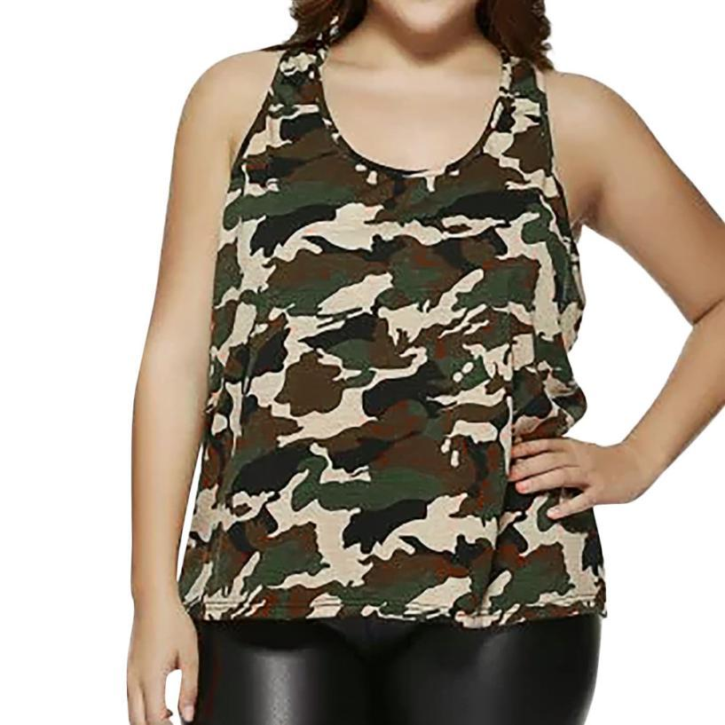 03e39e84e6ce7 2019 Women Plus Size Sleeveless Camouflage Vest Blouse Tank Tops Camis  Clothes Casual Blouse Vest Shirt Hot Sale New Style From Oott, $36.81 |  DHgate.Com