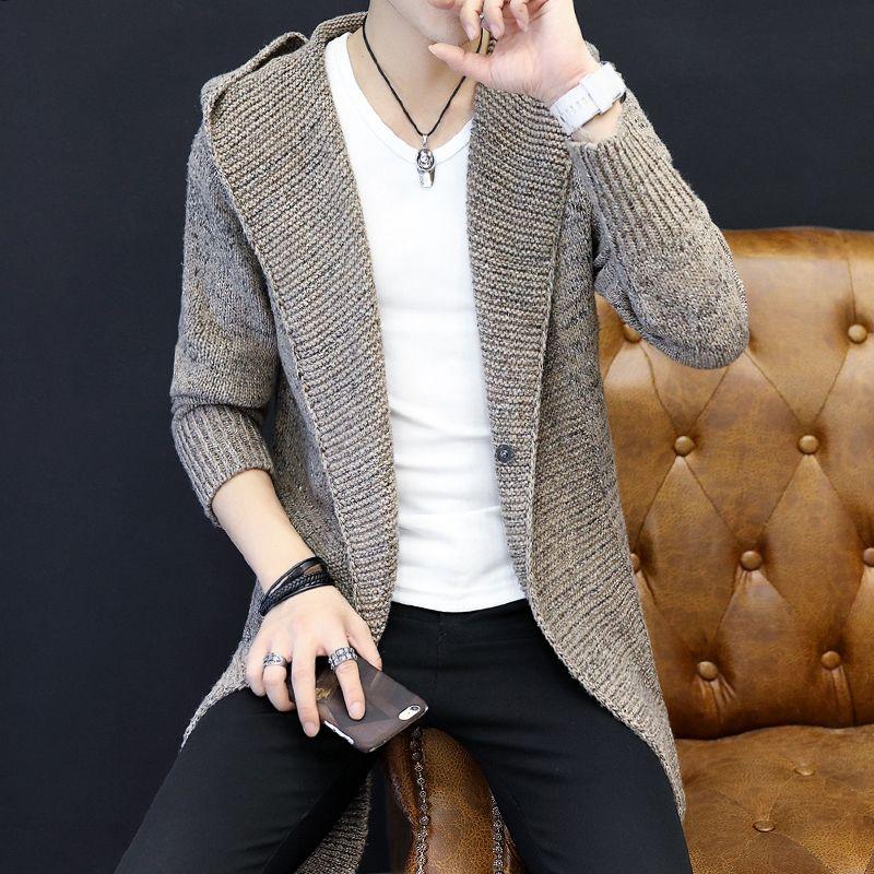 BKTrend 2017 Yeni Sonbahar Kış Uzun Erkek Hırka Moda Kazak Rahat Örme Aşınma Kapşonlu Moda Hırka Erkekler MY45