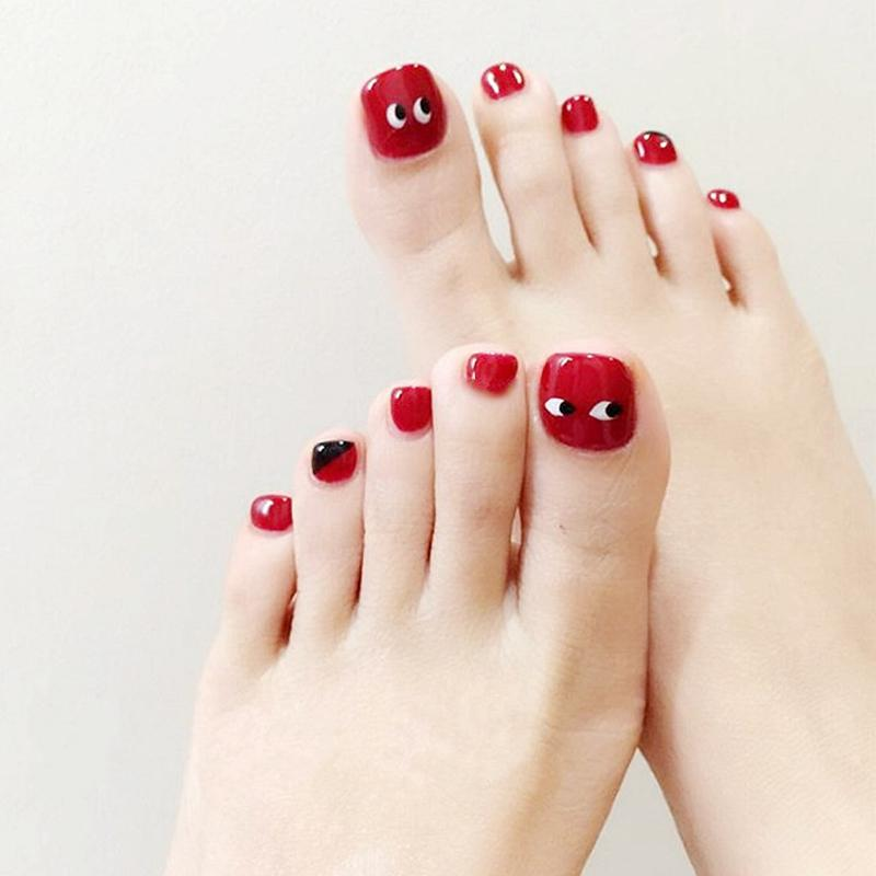 False Toe Nails Red Black Heart With Designs Fake Nails With Glue ...
