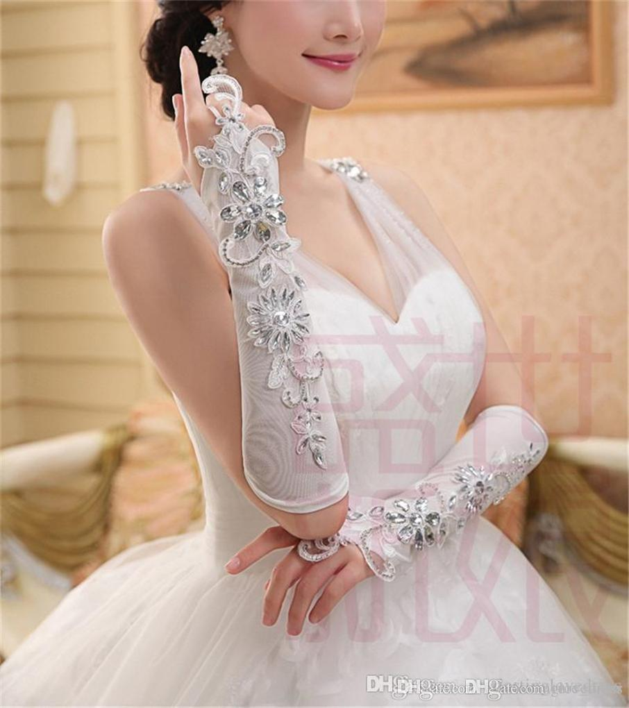 Fast Shipping Elegant Gorgeous Elbow Length Lace crystal Fingerless Appliqued Elastic Bridal Gloves Long Beading Wedding Gloves
