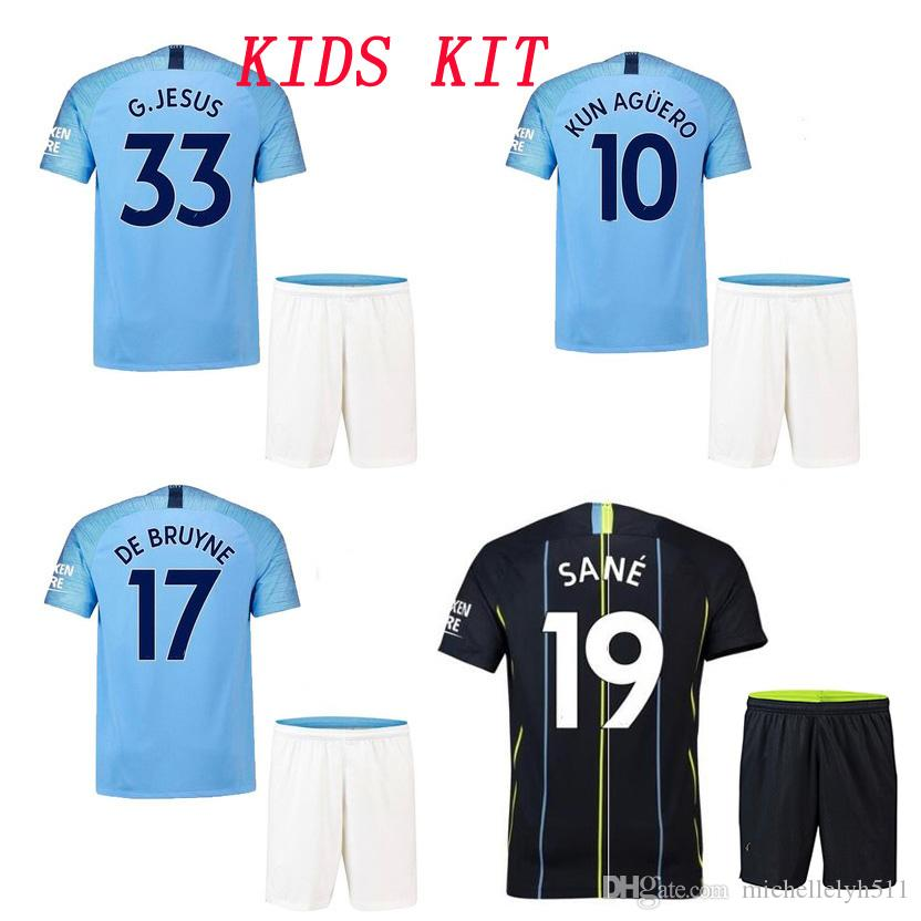 2019 18 19 Kids MaNche City Soccer Kits 2018 2019 KUN AGUERO G.JESUS DE  BRUYNE SILVA Football Set Children Thai Quality Soccer Jersey Shorts From  ... f21fcd0c6