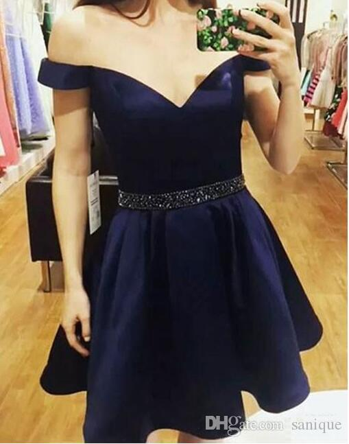 2018 Royal Blue Dark Red Short Cocktail Party Dress with Beaded Sash Off Shoulder Backless Prom Homecoming Dress