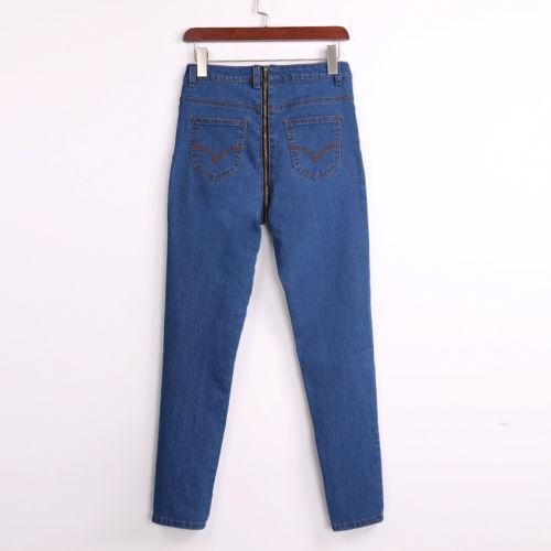 Flaco con cremallera de las señoras de las mujeres Casual Daily Pant Capris Womens pantalones de mezclilla de cintura alta Stretch Jeans Slim Pencil Trousers Clothing