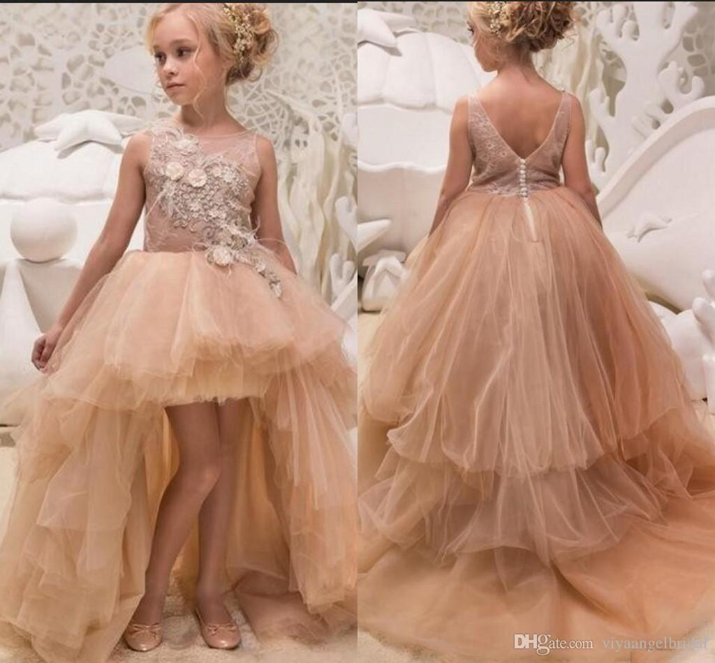 597252dff4b Princess Flower Girl Dresses 2019 Gold Summer High Low Lace Applique Tulle  Children s Champagne Feather Puffy Pageant Party Gowns Custom