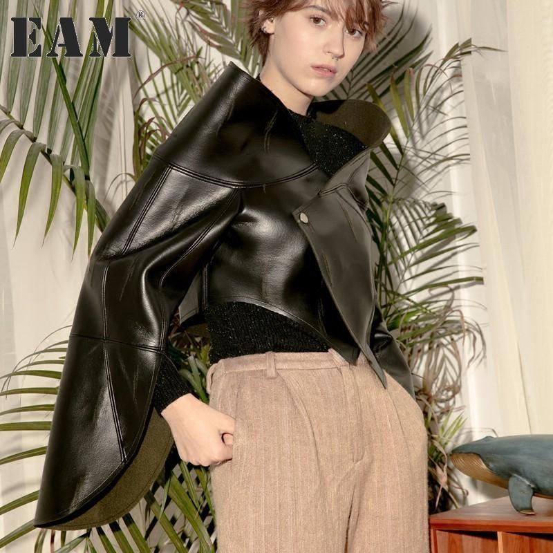 [EAM] 2017 nouvelle automne hiver col V irrégulière manches longues couleur unie noir PU veste en cuir femmes manteau marée de la mode JD66401S