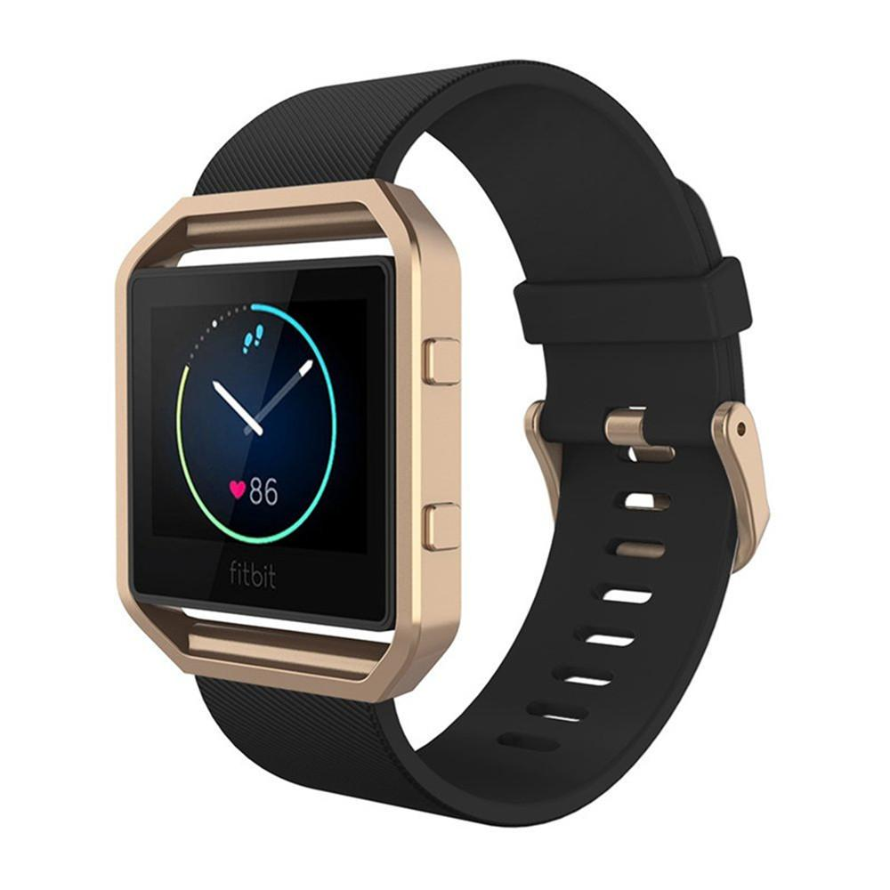 Fitbit Blaze Band,Silicone Strap Replacement Strap for Fitbit Blaze Smart  Fitness watchSilicone Sport Classic Band + Metal Frame