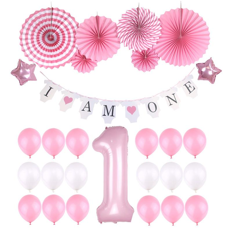 2019 Wholesale Baby Shower Girls Boys 1st Birthday Decoration Kit Happy Bunting Banner 40 Foil Balloons Latex From Shuangyin005