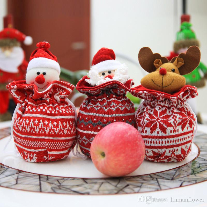 Christmas Decoration Gift Christmas Eve Knit Apple Bag Gift Bags Xmas Candy Cookie Bags Container Supplies Xmas Gifts