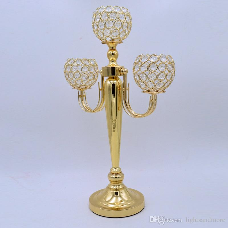 """21.65"""" tall gold silver 3 arms crystal candelabra centerpiece wedding party table decor candle holder centerpiece"""