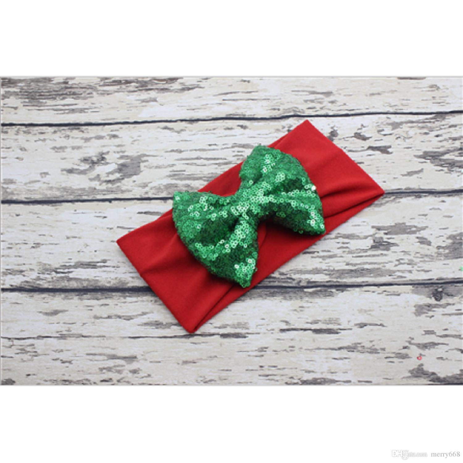 Pure color sequins Christmas headband child lovely photo hair accessories wholesale fashion simple European hair band