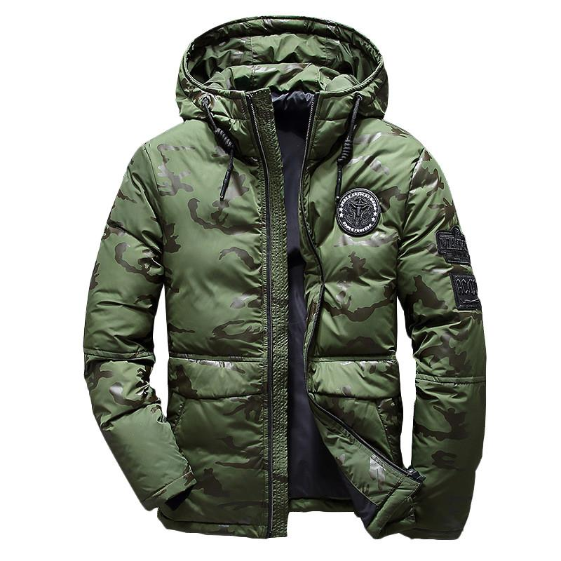 c1547d7e5716 2018 Men Winter warm Feather Jacket men's Hooded camouflage parka jackets  white mens thick jacket ultralight down