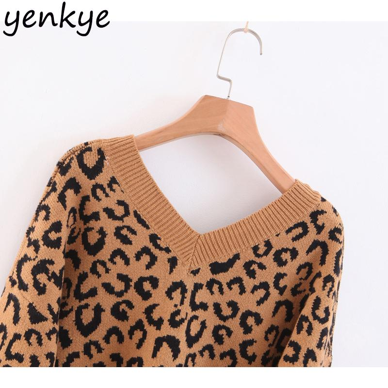 Women Vintage Oversized Leopard Sweater Female V Neck Long Sleeve Loose Casual Autumn Sweater Christmas Jumper DDWM8821