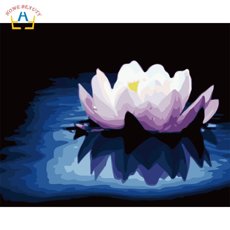 2019 Lotus Flowers Paintings Drawing By Numbers On Canvas With