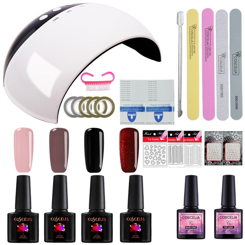 Painting Gel Nail Polish Kit 24W USB LED/UV Lamp UV Gel Varnish Top ...