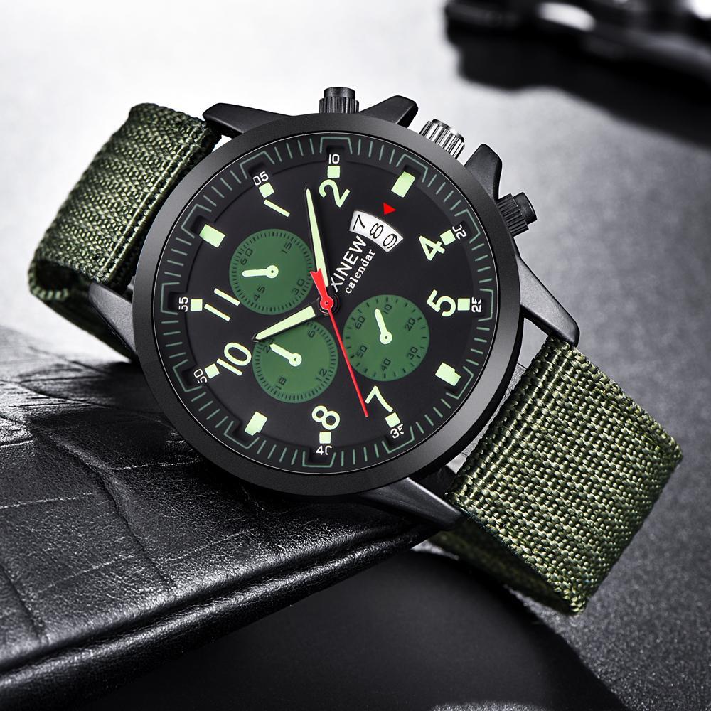 df44d73376a Compre   Lote Relógios Mens Moda Nylon Data Luminosa Relógio De Quartzo  Homens Esportes Relógio Do Vintage Montre Homme De Marque Erkek Saat 2229 De  ...