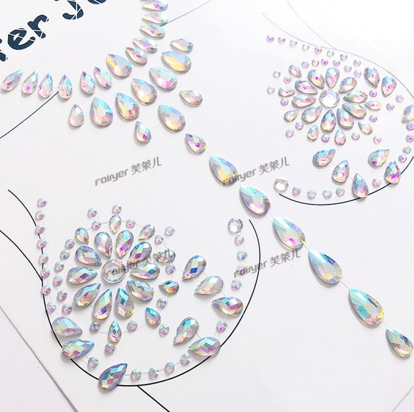 4054b253e4 1 Piece Adhesive Gems Sticker Charm Face Glitter Jewel Sticky Crystal  Festival Party Makeup Sexy Chest Tattoo Stickers Eyes Body Make Up