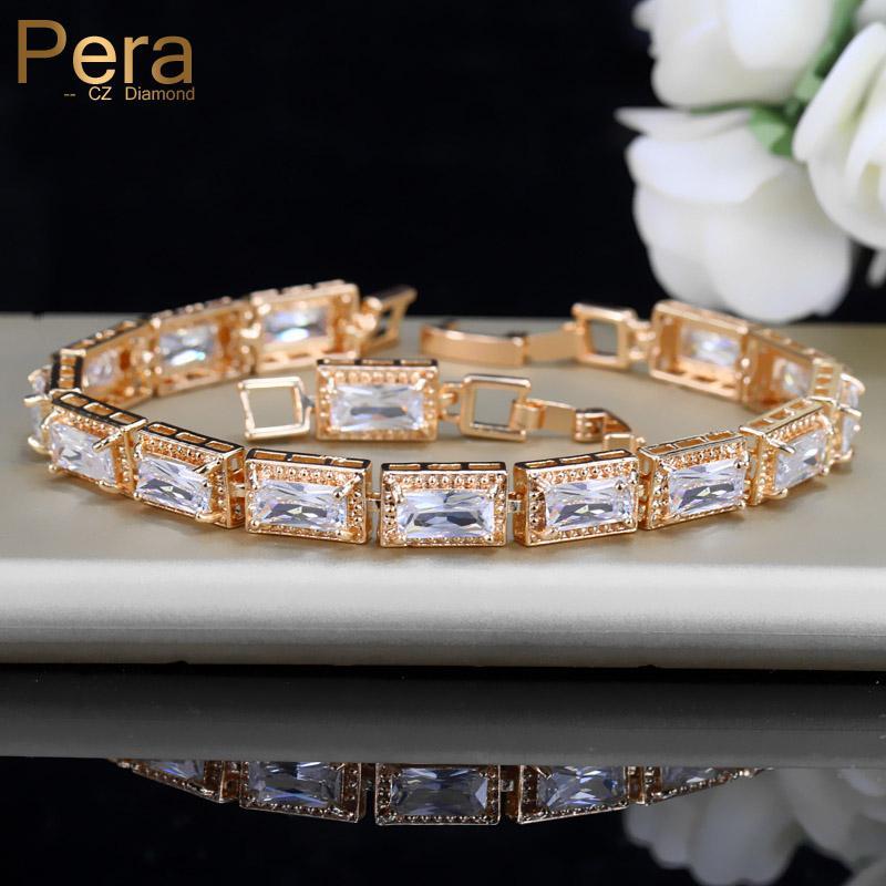 38c79c591785 Pera de lujo de las mujeres africanas de la boda joyería del brazalete  cuadrado grande Cubic Zirconia piedra ajuste de color oro pulsera para  mujer ...